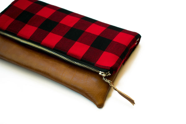 Buffalo Plaid Wristlet, Buffalo Check Fabric, Fold Over Clutch, Rustic Clutch, Bridesmaid Gift