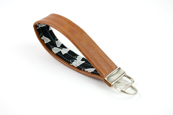 Faux Leather Mountain Keychain
