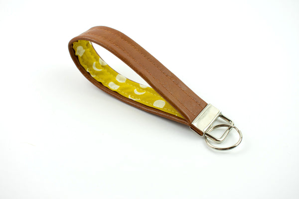 Faux Leather Keychain - Yellow Moon