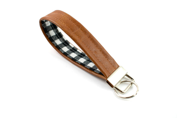 Faux Leather Keychain - Black White Gingham
