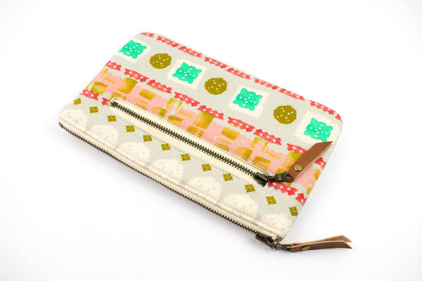 Phone Wallet - Coral Aqua Blockprint
