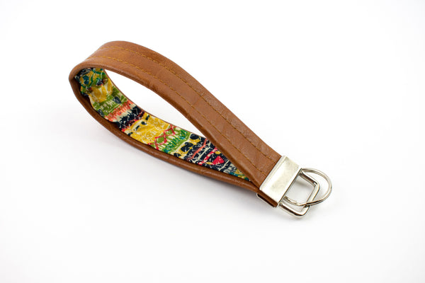 Faux Leather Keychain - Boho Stripe
