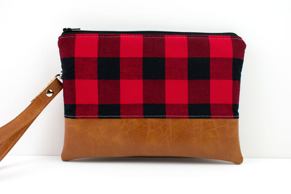 Convertible Wallet - Black Red Buffalo Plaid