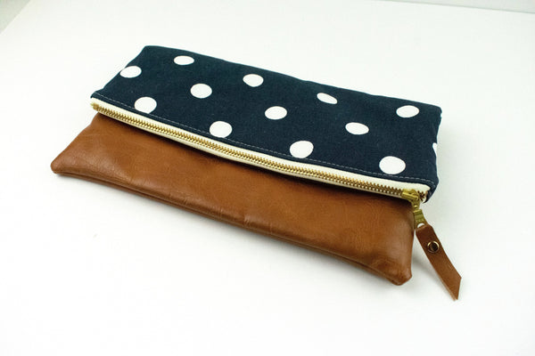 Polka Dot Foldover Clutch, Bridesmaid Clutch, Navy Crossbody Bag, Fold Over Wristlet, Gift for Her