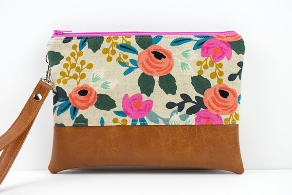 Convertible Wallet - Natural Floral Canvas