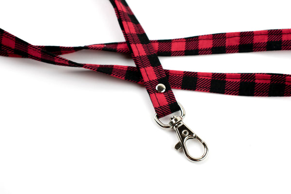 Lanyard ID Holder - Red Plaid