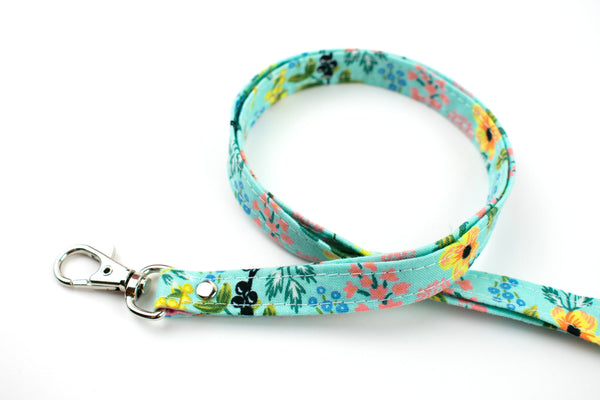 Aqua Floral Lanyard ID Holder