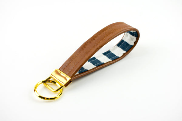 Faux Leather Navy White Striped Keychain