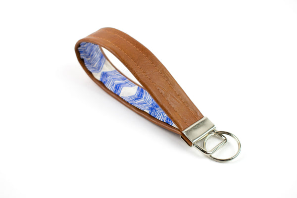 Faux Leather Keychain - Cobalt Geometric