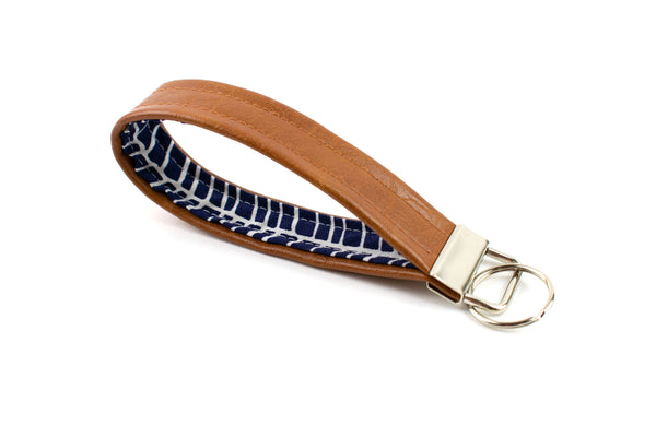Faux Leather Keychain - Navy Herringbone