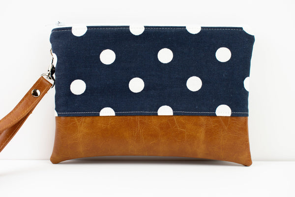 Convertible Wallet - Navy Polka Dot