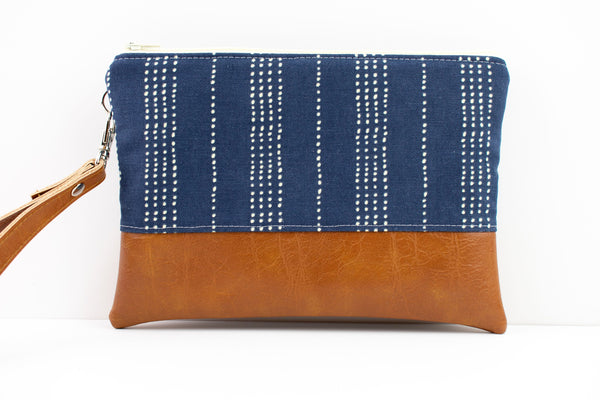 Convertible Wallet - Navy Dotted Stripe