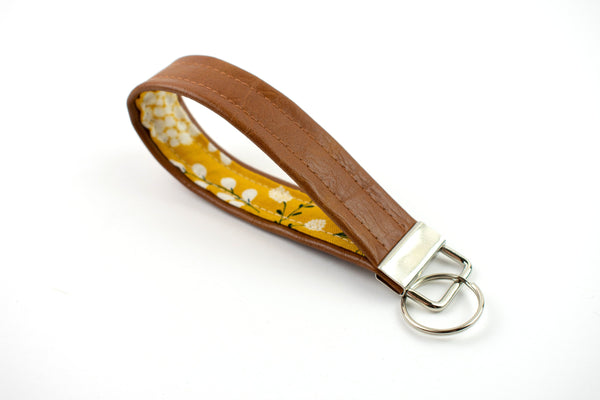 Faux Leather Keychain - Yellow Floral