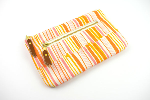 Phone Wallet - Peach Orange Stripe