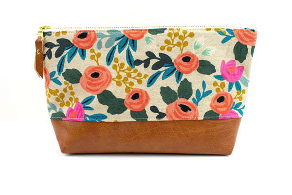 Large Make-up Bag - Natural Floral Canvas