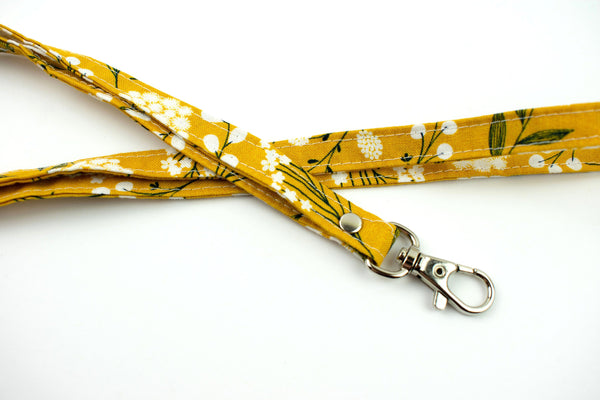Lanyard ID Holder - Yellow Boho Floral