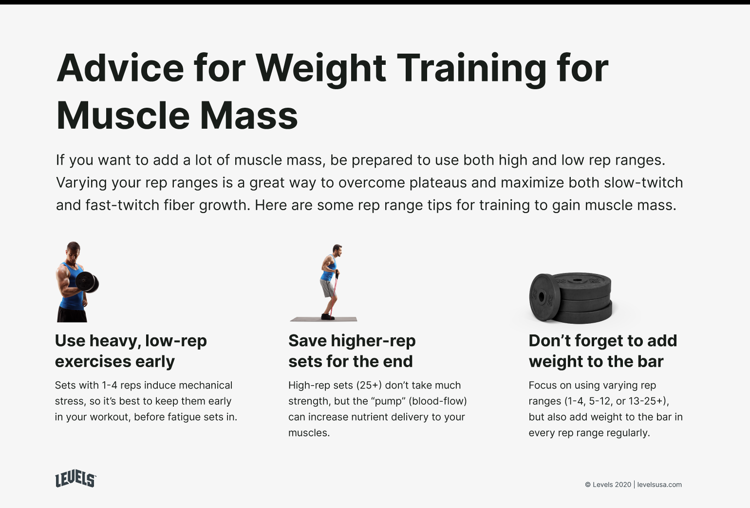 High Reps vs Low Reps - Advice For Weight Training For Muscle Mass Infographic