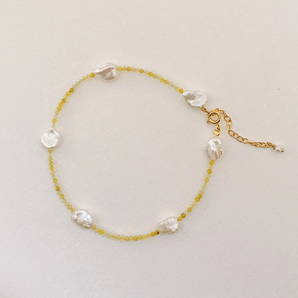 Bali Anklet Yellow opal