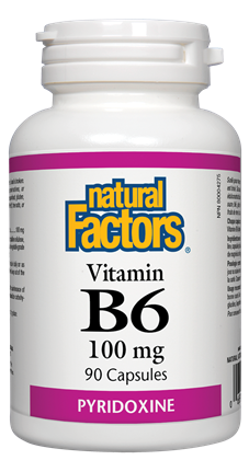 Vitamin B6 100 mg - 90caps - Natural Factors - Health & Body Nutrition