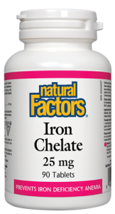 Iron Chelate 25 mg - 90tabs - Natural Factors - Health & Body Nutrition
