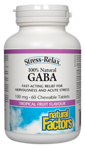 GABA 100 mg - 60 Chewable Tablets - Tropical Fruit Flavour-Natural Factors - Health & Body Nutrition