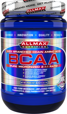 BCAA 2:1:1 Ratio 400g - Unflavoured- Allmax Nutrition - Health & Body Nutrition