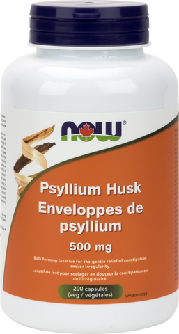 Psyllium Husk 500mg - 200caps - Now - Health & Body Nutrition