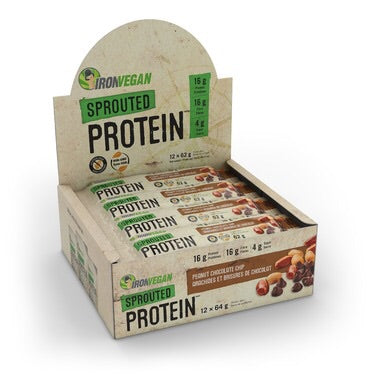 Sprouted Protein Bar - Peanut Chocolate Chip - 64g - Iron Vegan - Health & Body Nutrition