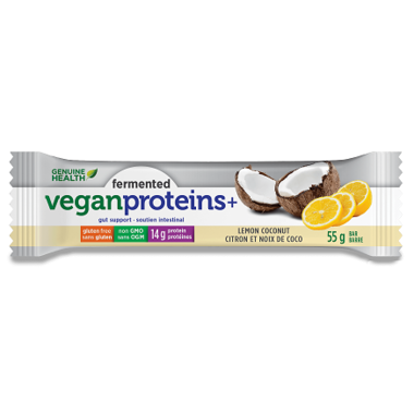 Fermented Vegan Proteins+ Bars - Lemon Coconut - Genuine Health - Health & Body Nutrition