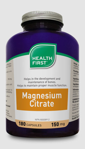 Magnesium Citrate - 180caps - Health First - Health & Body Nutrition