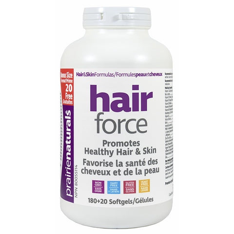 Hair Force - 180 softgels + 20 softgels - Bonus Size - Prairie Naturals - Health & Body Nutrition