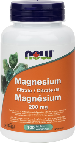 Magnesium Citrate - 200mg - 100tabs - Now - Health & Body Nutrition