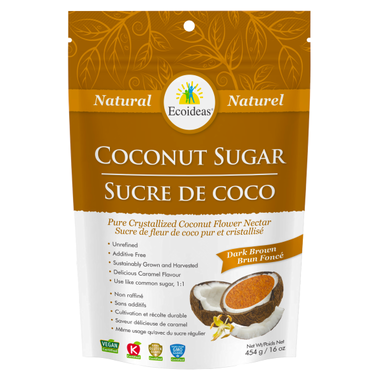 Dark Brown Coconut Sugar - 454g - Ecoideas - Health & Body Nutrition