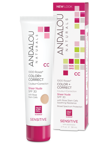 1000 Roses Color + Correct Sheer Nude SPF 30-58ml- Andalou Naturals - Health & Body Nutrition