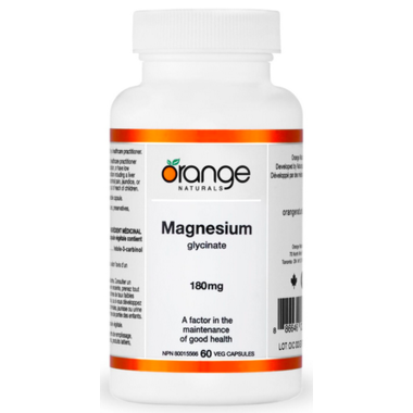 Magnesium glycinate 180mg- 60vcaps- Orange Naturals - Health & Body Nutrition