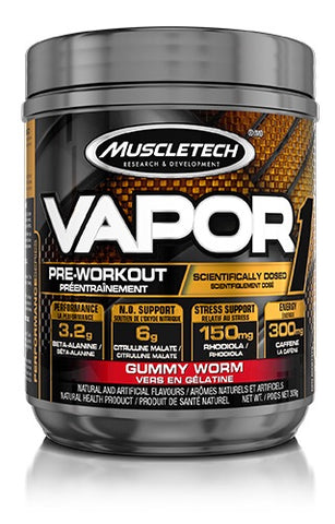 Vapor Pre-Workout - Gummy Worm Flavour 304g - Muscletech - Health & Body Nutrition