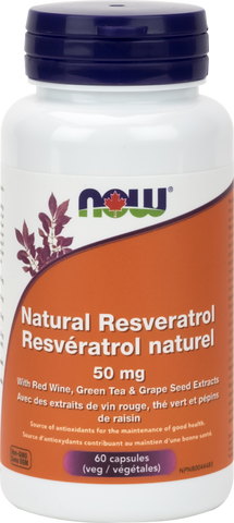 Natural Resveratrol - 50mg - 60vcaps - Now - Health & Body Nutrition