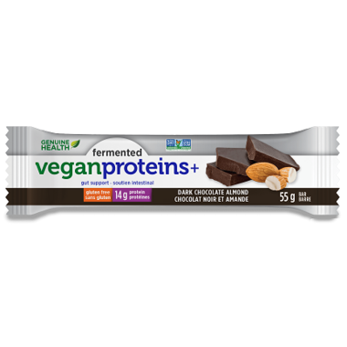 Fermented Vegan Proteins+ Bars - Dark Chocolate Almond - Genuine Health - Health & Body Nutrition