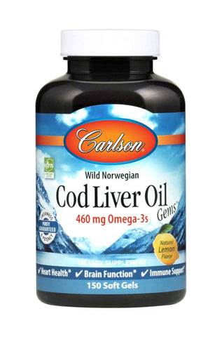 Norwegian Cod Liver Oil - Lightly Lemon Flavoured - 150gels - Carlson - Health & Body Nutrition