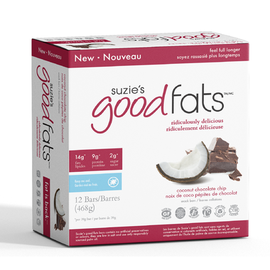 Suzie's Good Fats - Coconut Chocolate Chip - Box of 12 Bars - Health & Body Nutrition