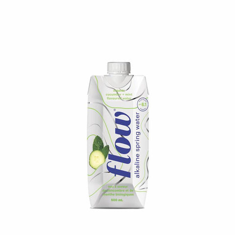 Alkaline Spring Water - Organic Cucumber-Mint Flavour - 500ml - Flow - Health & Body Nutrition
