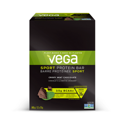 Sport Protein Bar - Box (12x70g) - Crispy Mint Chocolate - Vega - Health & Body Nutrition