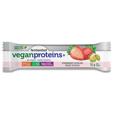 Fermented Vegan Proteins+ Bars - Strawberry Pistachio - Genuine Health - Health & Body Nutrition