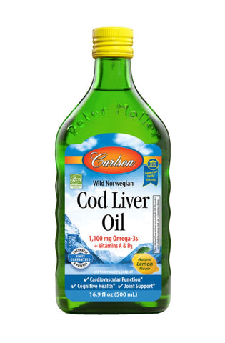 Norwegian Cod Liver Oil - Lemon Flavour - 500ml - Carlson - Health & Body Nutrition