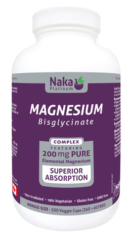 Magnesium Bisglycinate - 300vcaps - Naka - Health & Body Nutrition