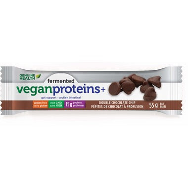 Fermented Vegan Proteins+ Bars - Double Chocolate Chip - Genuine Health - Health & Body Nutrition