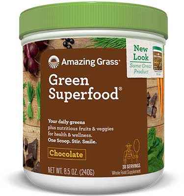 Green Superfood - Chocolate Flavoured - 60servings - Amazing Grass - Health & Body Nutrition