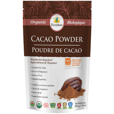 Organic Cacao Powder - 227g - Ecoideas - Health & Body Nutrition