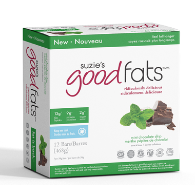 Suzie's Good Fats - Mint Chocolate Chip - Box of 12 Bars - Health & Body Nutrition