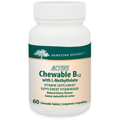 Active Chewable B12 with L-Methylfolate - 60tabs - Genestra - Health & Body Nutrition